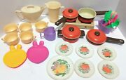 Kids Pretend Play Vintage Cookware With Stovetop + Toy Dishes Lot Pots Pans Lids