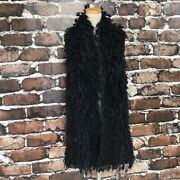 Eileen Fisher Black Mohair Blend Soft Shaggy Relaxed Fit Vest Nwot Large