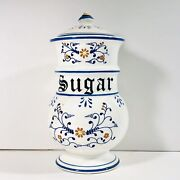 Vintage 1950s Royal Sealy Heritage Blue White Sugar Canister 8.5 Inches Japan
