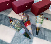 Set Of 3 Hand Painted Glass Ornament Christmas_in Boxes
