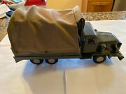 Vintage Japan S-1134 Fiction Tin 6-wheel Army Truck With Cloth Canvas Back 10