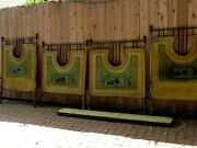 Antique Pair Of French Scenic Painted Metal Brass And Iron Twin Beds