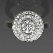 Solitaire And Accents 2.15 Ct Diamond Ring Halo Round Vvs1 4 Prong 14k White Gold