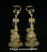 Ancient Bronze 24k Gilt Turquoise Dynasty Sheep Candle Holder Candlestick Pair