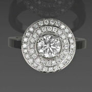 Diamond Halo Ring 2 1/4 Carat 18 Karat White Gold Solitaire Accented Size 6 7 8