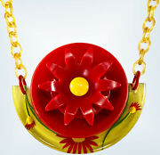 Bakelite Flower Necklace, Red And Reverse Carved And Painted Apple Juice Bakelite