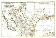 Mexico - Texas. Genuine Antique Map Of The South Western United States By Bonne