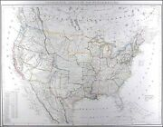 Usa. Genuine Antique Map Of The United States By Flemming Ca. 1855