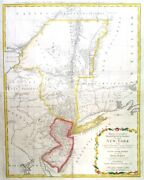 New York - Jersey. Genuine Antique Map By C. J. Sauthier For Homann Heirs 1778
