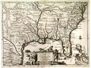 Florida And Se United States. Genuine Antique Map By Pieter Van Der Aa Ca. 1720