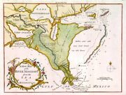 Mississippi. Genuine Antique Map Of The Lower River From London Magazine 1761