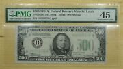 1934 A 500 H St. Louis Federal Reserve Note Pmg 45 Fr2202-h
