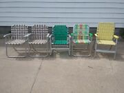 Aluminum Folding Webbed Lawn Chair For Parts Or Restoration 4 Chairs 1 Rocker