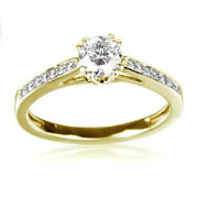 18k Yellow Gold 8 Prong Solitaire Accented Diamond Ring 1 Carats Round Women