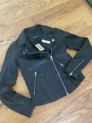 New Madewell Black Washed Leather Motorcycle Jacket - Womens Size Xxs Msrp 498