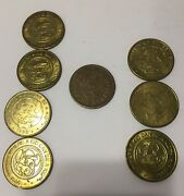 7 Chuck E Cheese 1995 Mouse Tokens Plus 1988 In Pizza We Trust 25 Cent Token