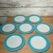 Lot Of 7 Vintage Pyrex Turquoise Blue And White Milk Glass Salad Plates 8