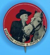Vintage 1950s Hopalong Cassidy And His Horse Topper Photo Button