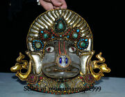 10 Old Tibet Crystal Filigree Turquoise Jewel Cattle Ox Beast Mask Wall Hanging