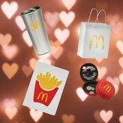 Mcdonalds Set 16 Oz Silver Tumbler + Gift Bag + Coin Pouch + French Fry Notebook