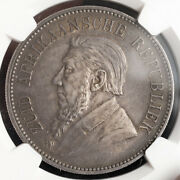 1892 South African Republic Zar. Large Silver 5 Shillings Coin. Ngc Au-53
