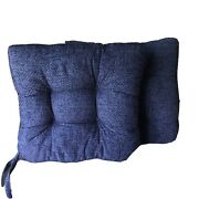 Whitley Willows Reversible 2 Pack Plush Chenille Chair Pads Navy Cushions