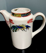 Tea Pot Chinese Red Fire Dragon. Ocean Waves. 6andrdquo X 6-1/2andrdquo. 14 Ounces