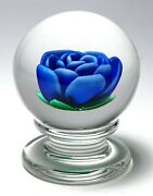 Francis Whittemore Blue Crimp Rose Upright Pedestal Paperweight