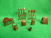 Marx Western Town, Roy Rogers Mineral City Accessories Brown Plastic