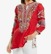 John Mark Mixed Media Floral Multi Embroidered 3/4 Sleeve Blouse Size - Large