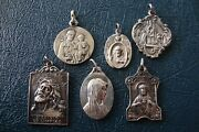 Lot Of 6 Antique Religious Catholic Medals 1 Sterling Silver One Montmartre