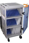 Pochar 30-unit Mobile Charging Cart For Laptops And Tablets - Fully Assembled With