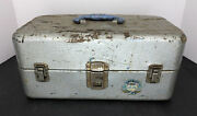 Vintage Union Steel Chest Fishing Tackle Box Watertite 2 Tray Tool Box Usa