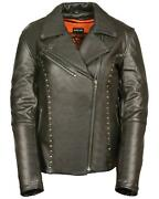 Milwaukee Leather Women's Classic Studded Motorcycle Leather Jacket Black Small