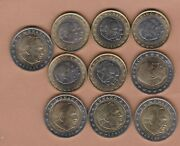 Ten Monaco 2002 One Euro And Two Euro Coins In A Bright Mint Condition