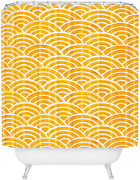 Society6 Cat Coquillette Japanese Seigaiha Marigold Shower Curtain, 72 X 69 X