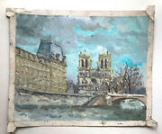 Middle 20th Century Cathedral Notre Dame In Paris French Postimpressionism