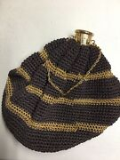 Antique Dk Brown Crochet Mourning Chatelain Purse, Germany, Expandable Gate Top