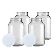 Home Brew Ohio One Gallon Glass Wide Mouth Jar With Solid Lid Set Of 4
