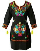 Mexican Dress Fino 3 Style Knee Length Embroidered Floral - Black