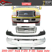 Front Bumper Chrome + Grille + Upper And Lower Cover For 2005-2007 Ford F-250 F350