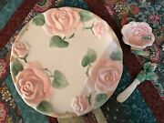 Blushing Rose By Fitz And Floyd 1987 Butter Dish And Knife Set - Canape Plate 3 Pcs