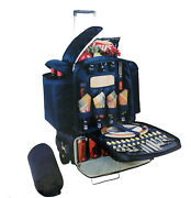 Picnic Time Excursion Deluxe Cooler On Wheels With Picnic Service For 4 Rv/camp