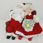 Telco Mr And Mrs Santa Claus Motionettes Snoring Humming Musical Vintage Christmas