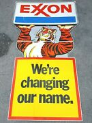 Vintage Exxon Sign We're Changing Our Name 1972 Coroplast Esso Tiger Oil / Gas