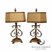 Fine Arts Lamps Quality Pair Ornate Scrollwork Wrought Iron Table Lamps