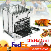 Wood Stove Pocket Cooking Folding Outdoor Burning Camping Picnic Stainless Us