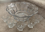 """Vintage Fostoria Coin Glass Clear Punch Bowl 15"""" With Punch Cups Mugs"""