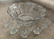 Vintage Fostoria Coin Glass Clear Punch Bowl 15andrdquo With Punch Cups Mugs