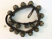 Antique 16 Graduated Brass Petal Sleigh Bells On 46andrdquo Leather Strap